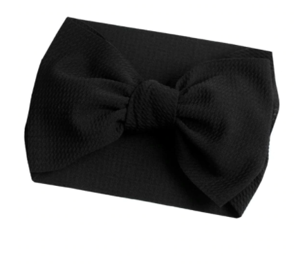 Bullet Large Bow Headwrap - Black