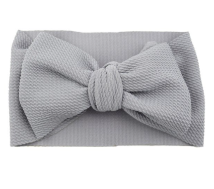 Oversized Headband Bow - Gray