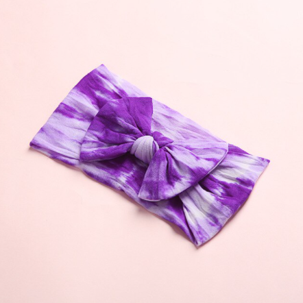 Tie Dye Headband Bow - Purple