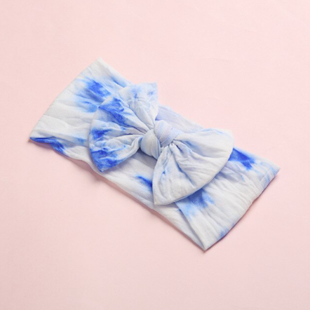 Tie Dye Headband Bow - Blue
