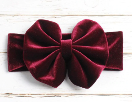 Velvet Headband Bow - Wine