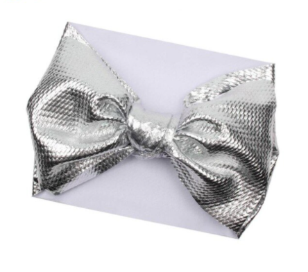 Oversized Silver Waffle Headwrap Bow