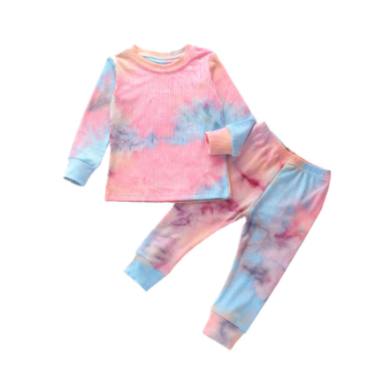 Purple and Pink Ribbed Tie Dye Set