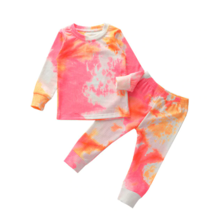 Orange and Pink Ribbed Tie Dye Set