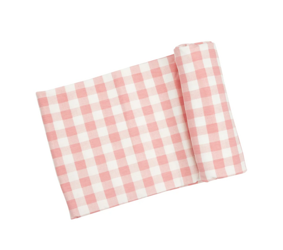 Angel DearⓇ Bamboo Swaddle - Gingham Pink