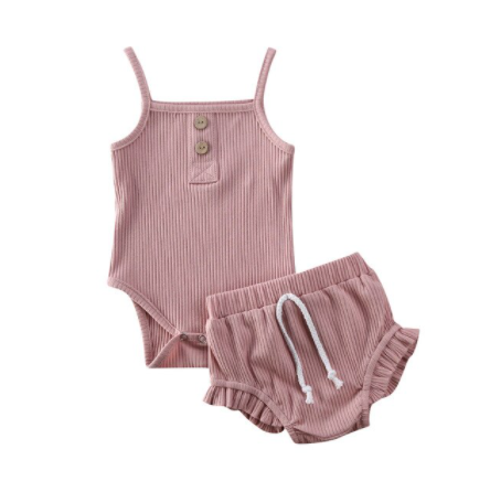 Ribbed Onesie and Ruffled Bloomers - Dusty Rose