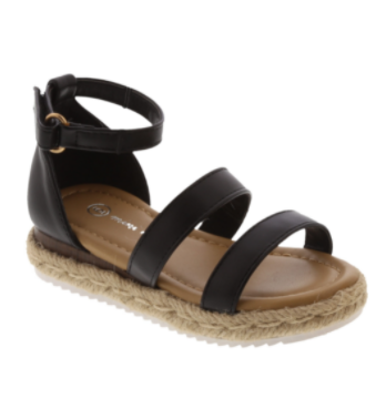 Baby Girl Double Strap Black Sandals