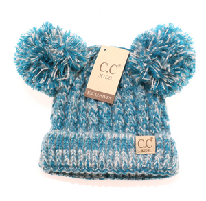 Kids Multi Tone Double Pom CC Beanies