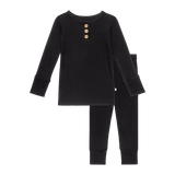 Posh Peanut - Solid Ribbed - Black - Long Sleeve Henley Loungewear