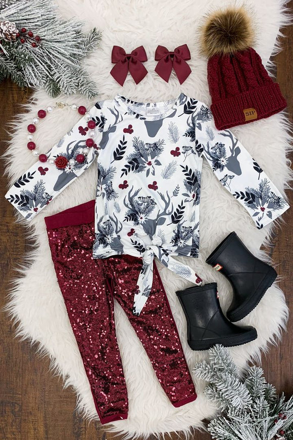 Burgundy Floral Deer Sequin Pant Set