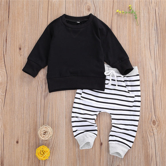 Boys Set Black Pullover with Striped Joggers