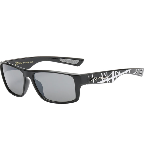 Splash Print Polycarbonate Wrap kids Sunglasses - Silver