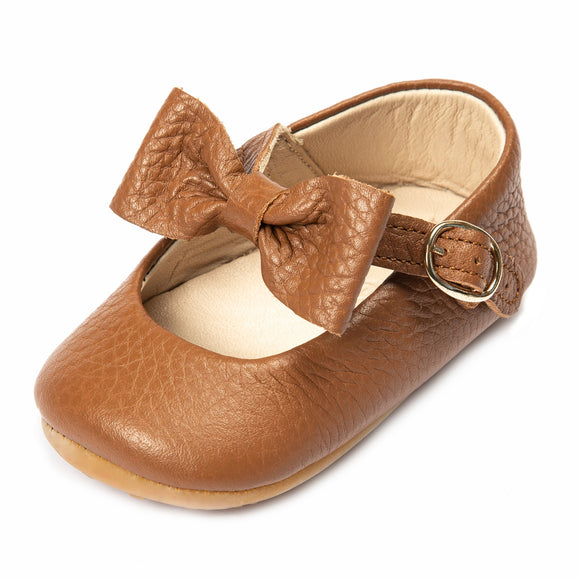 Baby Girls Mary Jane Flat Anti-Slip Rubber Sole Shoe - Taba