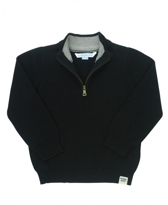 RuggedButts® Black Quarter-Zip Sweater