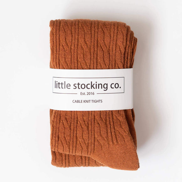Little Stocking Co. - Sugar Almond Cable Knit Tights