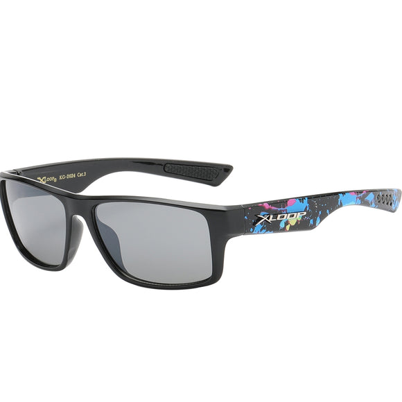 Splash Print Polycarbonate Wrap kids Sunglasses - Multi