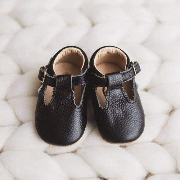 Black T Bar Moccasins