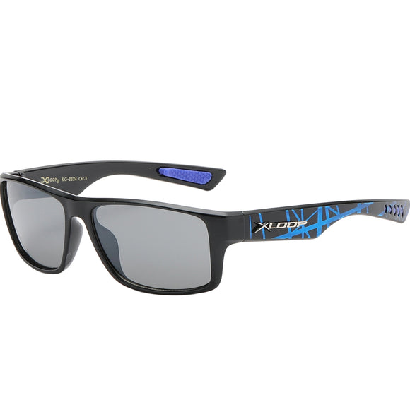 Splash Print Polycarbonate Wrap kids Sunglasses - Blue
