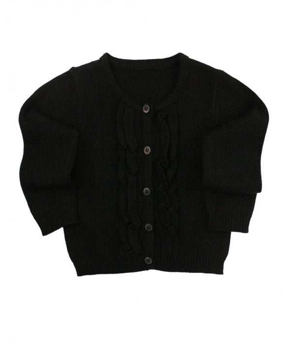 Rufflebutts® Black Ruffled Cardigan