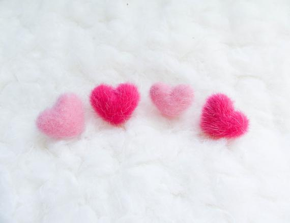 Fuzzy Heart Stud Earrings