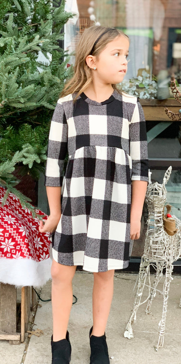Brushed Buffalo plaid Babydoll Dress - Black/Ivory
