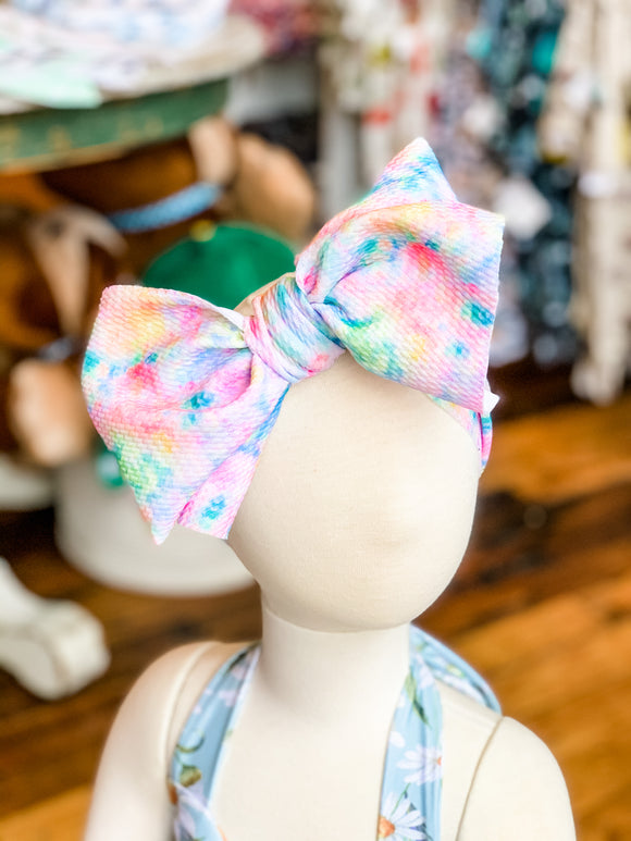 Handmade Headwrap Large Bow - Tie Dye