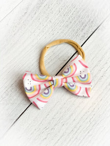Handmade Headband Bow - Rainbows