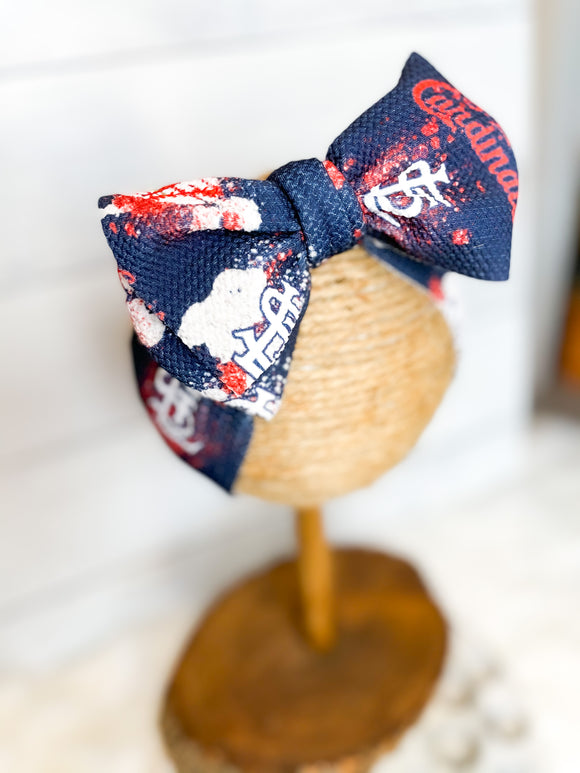 STL Cardinals Handmade Headwrap Bow - Full Wrap