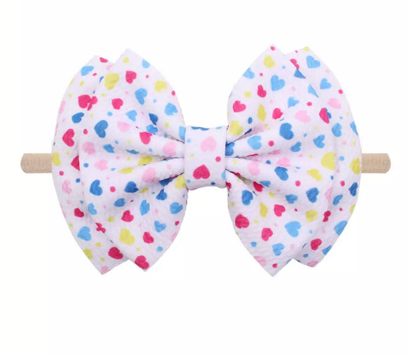 Colored Hearts Bow Headband