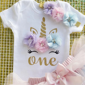Floral Unicorn First Birthday Outfit