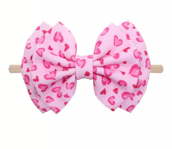 Pink Leopard Hearts Bow Headband
