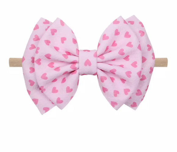 Pink Hearts Valentine's Day Headband Bow