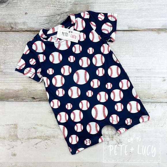 Batter Up Boy's Romper