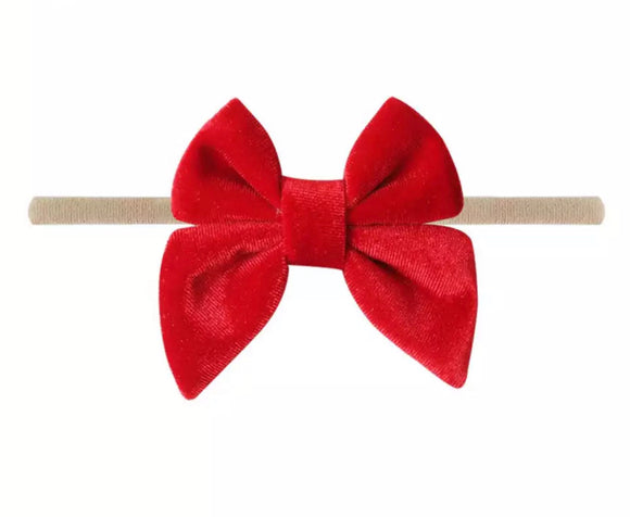 Velvet Bow Headwrap in Red