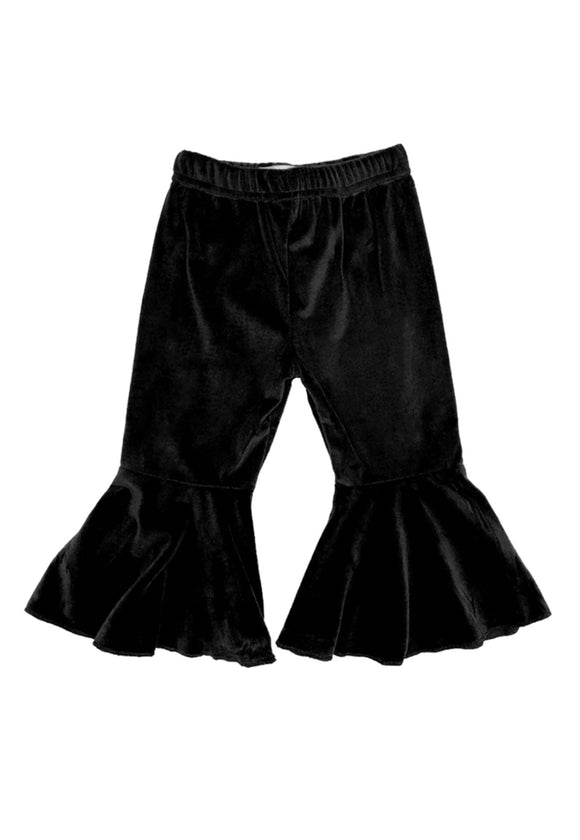 Velour Black Bell Bottom Pants