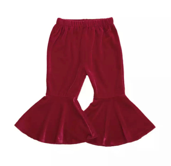Velvet Bell Bottoms - Red