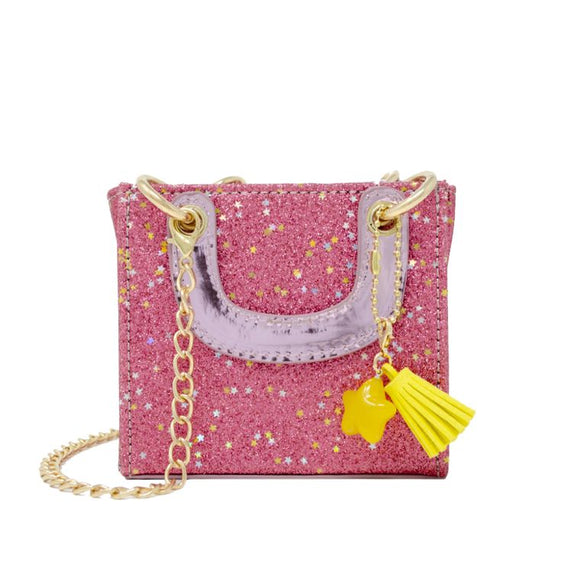 Tiny Square Sparkle Tassel Bag (Pink)