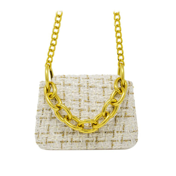 Tiny Tweed Link Chain Bag (White)