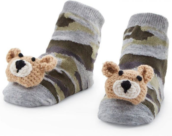 MUD PIE CAMO BEAR RATTLE TOE SOCKS