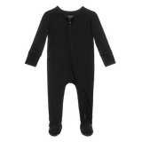 Posh Peanut - Solid Ribbed - Black - Footie Zippered One Piece