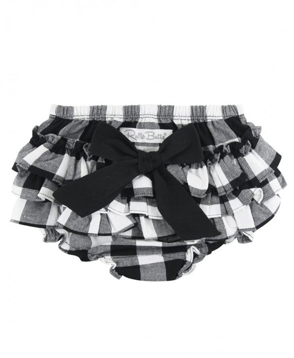 Rufflebutts® Black & White Plaid RuffleButt