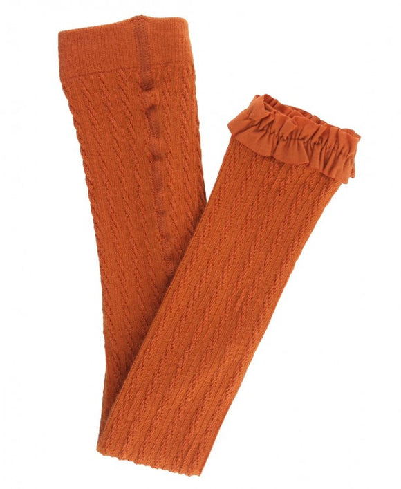 Orange Spice Cable-Knit Footless Ruffle Tights