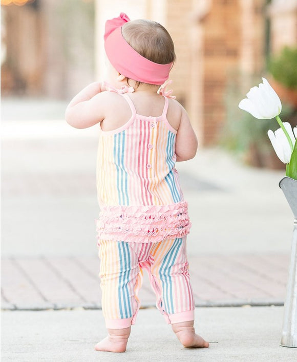 RuffleButts® Daydream Stripe Full Length Romper