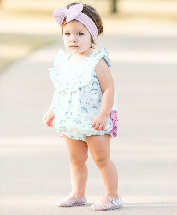 RuffleButts® Chasing Rainbows Ruffled Bubble Romper
