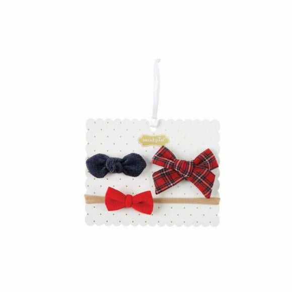 MUD PIE TARTAN BOW SET