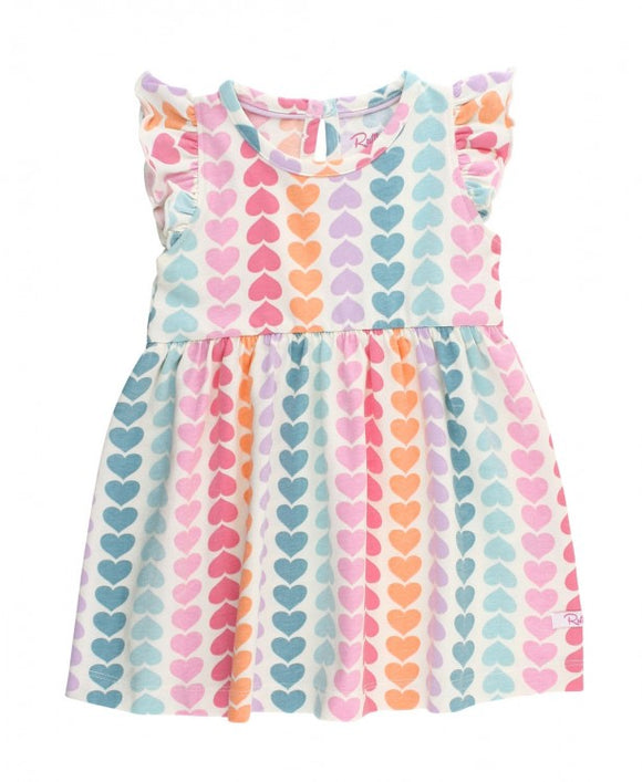 RuffleButts® Rainbow Hearts Flutter Dress