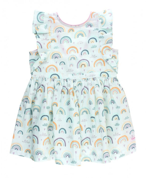 RuffleButts® Chasing Rainbows Butterfly Sleeve Dress