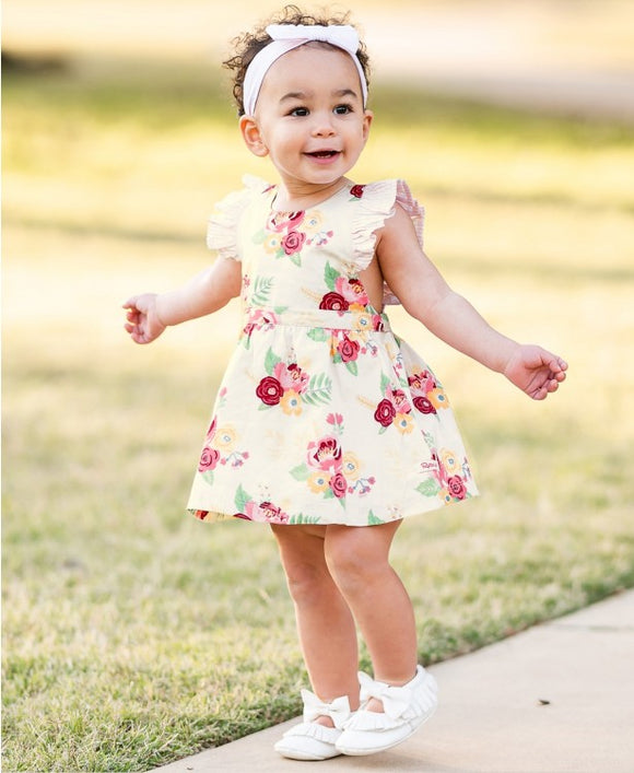 RuffleButts® Darling Bouquets Pinafore Dress