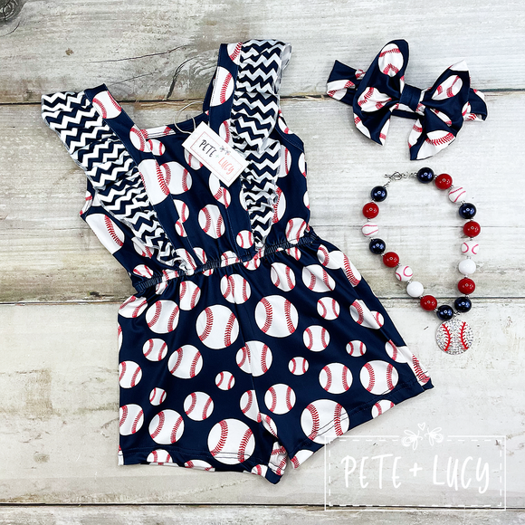 Batter Up Girl's Romper