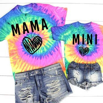 MAMA and MINI Tie Dye Hearts - Mommy and Me: Neon Rainbow